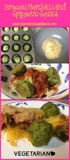 Broccoli Meatballs, what?! YES. These are SO delicious!! They are only made out of a FEW ingredients, and go so well over baked spaghetti squash.    To see the full recipe, CLICK the PIN. If you tried this, REPIN so I know if you liked it or not! :)