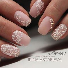 Bridal Nail Art Designs for Women in 2019 Page 15 of 20 Fashion wedding nails Bridal Nails Designs, Bridal Nail Art, Fall Nail Art Designs, Wedding Nails Design, White Nail Designs, Elegant Bridal Nails, Lace Nail Design, Vintage Wedding Nails, Wedding Nails For Bride