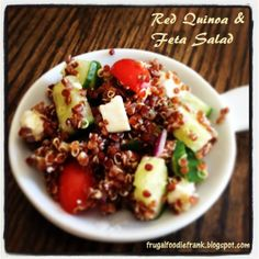 http://frugalfoodiefrank.blogspot.com/2014/05/red-quinoa-and-feta-salad.html Incredibly healthy real food lunch!