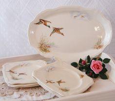 Alfred Meakin Flying Duck set of sandwich Plate by VerasTreasures