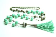 A personal favorite from my Etsy shop https://www.etsy.com/listing/237650442/free-shipping-mint-and-brass-luxe-tassel