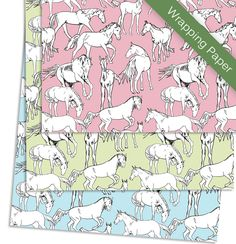 Horses All Over Birthday Party Pony Gift Wrapping Paper - The Painting Pony