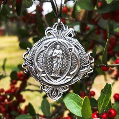This highly decorative pendant features the lifted image of Christ Jesus from a Belgium religious medal. A perfect gift and collection… Images Of Christ, Wearable Art, Belgium, Linens, Jesus Christ, Monogram, Sterling Silver, Christmas Ornaments, Pendant