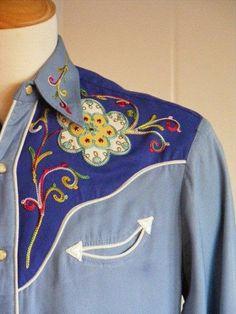 Vintage H Bar C Mens Western Rockabilly Shirt. LIke the design. Vintage Western Wear, Vintage Cowgirl, Cowgirl Chic, Cowgirl Style, Vintage Men, Western Style, Country Style, Chemises Country, Vintage Outfits