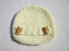 Baby Newsboy Hat Cream with Teddy Bear Buttons, Ready to Ship Baby Hat Photo Prop, 0 to 3 months Crochet Baby Cap by CrochetedbyCharlene by crochetedbycharlene on Etsy