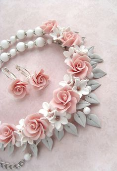 Dusty pink roses jewelry set Polymer clay necklace earrings
