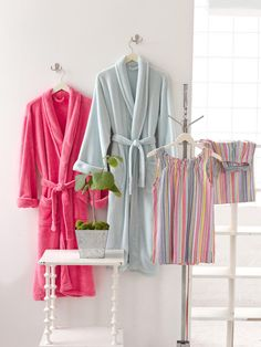 For a fresh, feminine take on menswear, pair a striped peasant top and pants with a plush fleece robe in a coordinating color.