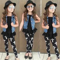 Super cute outfit for my little girl. Jean vest, cross leggings, and a fedora. Little girl fashion. Little fashionista. Little Girl Outfits, Cute Outfits For Kids, Little Girl Fashion, Cute Girls, Child Fashion, Little Fashionista, Kids Mode, Outfits Niños, Fashion Outfits