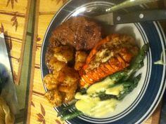 One meal that is on my Vegas Bucket List is  Lobster steak asparagus & shrimp.