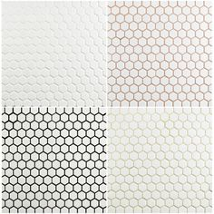 Merola Tile Metro Hex Glossy White in. x 5 mm Porcelain Mosaic Floor and Wall Tile sq. / case) FXLMHW at The Home Depot - Mobile Grey Tile Grout, Penny Tile Floors, Black Grout, White Mosaic Tiles, Hexagon Tiles, Hex Tile, Tiling, White Hexagonal Tile, Modern Mosaic Tile