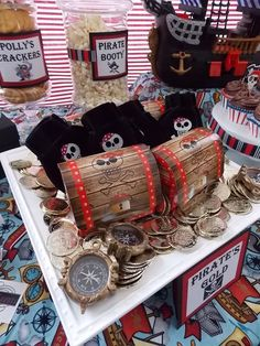 Favors at a Pirate Party (Cannon Balls, Polly's Crackers, Pirate's Gold, Salty Sea Water, Pirate Punch) Pirate Day, Pirate Birthday, Pirate Theme, Pirate Food, Pirate Decor, 4th Birthday Parties, Birthday Party Favors, Birthday Ideas, Pirate Party Favors