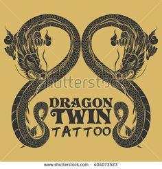Dragon logo vector - stock vector