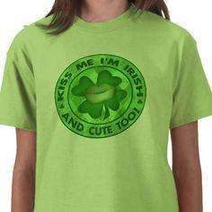 St. Patrick's Day Cute Irish Kiss Me T-Shirt #stpatricksday #tshirts #jamiecreates1 #Irish #zazzle #favorite #kids