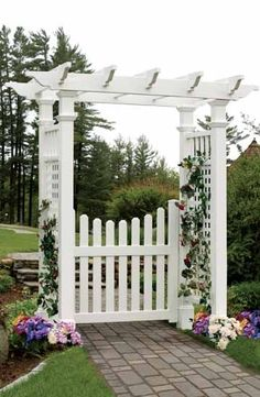 Image result for path hedge picket fence gate arbour