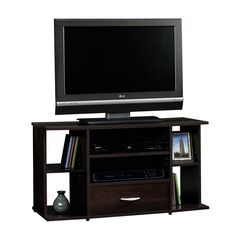 """TV Stand Console Entertainment Media Center Open Storage Shelves One Drawer 42""""  #SWCo #Modern"""