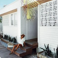 A very beautiful morning at our new fave location guesthouse Byron Bay - all new stock coming soon! Exterior Design, Interior And Exterior, Decorative Concrete Blocks, Besser Block, Beach Bungalows, Beach Shack, Home Reno, Outdoor Areas, Decoration