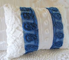 chenille pillow cover OCEAN BLUE