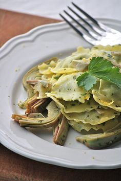 Spinach and Ricotta Ravioli with Artichokes and Lemon