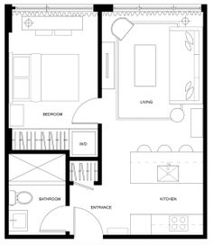 """A 450 Square Foot """"Little City Shoebox"""" Feels Much Bigger Than It Is - - Filled with natural light, neutral colors and bold contrast, Natasha's 450 square foot condo feels like anything but the """"little city shoebox"""" she describes it as. The Plan, How To Plan, Condo Floor Plans, Small Floor Plans, Small Apartment Plans, Apartment Floor Plans, Tiny House Cabin, Small House Plans, Cottage House"""