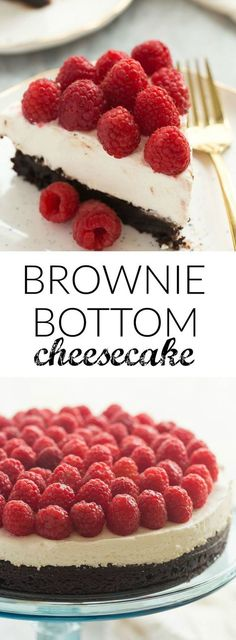 This Brownie Bottom Cheesecake is made with a fudgy, brownie base, a silky smooth no bake cheesecake and topped with piles of fresh raspberries. It's an elegant holiday dessert that's also naturally gluten free!