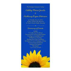Simple and cheerful yellow sunflower and cobalt blue (royal blue) wedding program.   You can easily personalize the text on this affordable wedding program. Also available in black, brown, navy blue, purple and white. You can change out the background color for whatever you want using the Zazzle customize it tool.   Just $0.60 each! Volume discounts available. Super affordable!  #weddings #weddingprograms #sunflower
