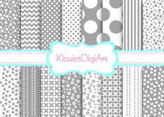 16 Mixed Digital Papers in Grey Gray for by KlouiseDigiArt on Etsy, $2.00