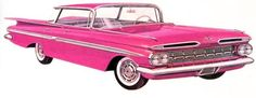chevrolet photoshoped to be even more pink Chevrolet Impala, Chevy, Ad Art, Old Cars, Vintage Cars, Vehicles, Brochures, Memories, Signs