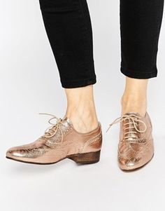 Dune Ferne Rose Gold Leather Brogue Flat Shoes