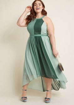 Peachy Queen Maxi Dress in Pear - Feel like royalty in this airy colorblocked maxi - part of our ModCloth namesake label! Featuring roomy pockets, a gathered waist, and an elegant high-low hem, this sage and forest green dress will have you radiating beauty and kindness throughout the land! Insider tip - this radiant style was designed with no stretch in the bodice. Choose your size carefully!