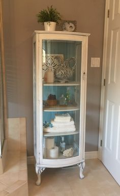 Small curio cabinet painted with a DIY Chalk paint. Painted & Curio make over--outdated no more--lose the mirror (so eighties) add ...