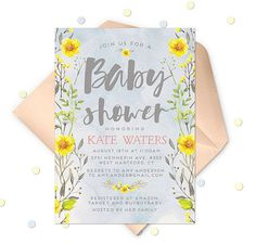 Blue Watercolor Baby Shower Invitation Spring Baby by ohsoparty