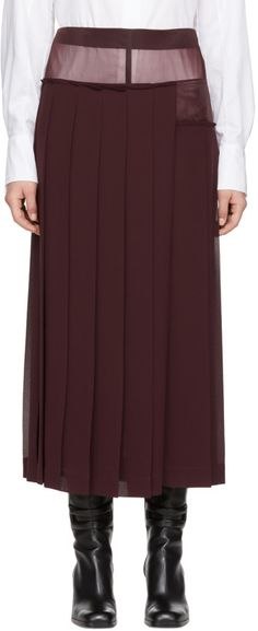 Victoria Beckham - Burgundy Pleated Sheer Skirt