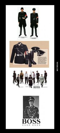 """SS-Uniform by Hugo Boss: Why companies are allowed to continue business after working directly for Nazis is beyond me....like was anyone really surprised at the VW """"scandal"""" woth fake sensors saying carbon emissions were 4X lower than actual? They are a company who worked with/for Nazis using slave labor in their factories...they shouldn't be allowed to be a company anymore. Either should Hugo Boss or IG Farben/Exxon Mobil or Bayer Pharmaceuticals or or or or or"""