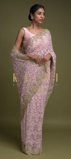 Beige Saree In Net Adorned With Pink Thread Embroidered Floral Heritage Pattern Online - Kalki Fashion Bridal Sarees, Wedding Sarees, Indian Wear, Brides, Ethnic, Designers, Sequins, Sari, Photoshoot