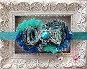 Jade/ peacock paisley print headband- Newborn Headband-  Baby Girl Headband - Toddler Headband -Christmas Headband-  Adult Headband. $10.95, via Etsy.