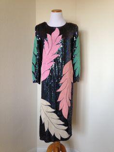 JUSTE réduit fluo Pastel plume perlée robe par ShastaBrookVintage 1980 s