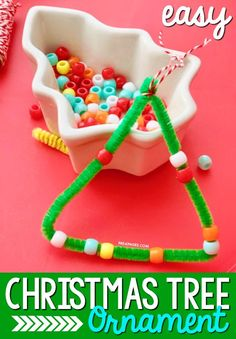 Easy Christmas Tree Ornaments. If you're looking for a super simple Christmas craft or ornament your kids can make, you're in luck! These pipe cleaner Christmas tree ornaments are so easy for preschoolers and even toddlers (with supervision) to make. Parents will treasure these homemade ornaments for years to come. If you want the crafts you do in your classroom to like they were made by your students and not the teacher, then these ornaments are for you. #Christmas #Christmascraft Kids Christmas Ornaments, Christmas Crafts For Toddlers, Toddler Christmas, Christmas Tree Themes, Christmas Crafts For Kids, Christmas Fun, Preschool Christmas Activities, Preschool Crafts, Motor Activities