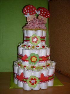 DIAPER CAKE / LUIERTAART Twin mushroom fantasy te bestellen bij/ to order: misspulepien@hotmail.com https://www.facebook.com/misspulepien