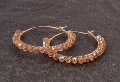 Light Brown Zirkon hoop earrings gold filled #jewelry #earrings @EtsyMktgTool http://etsy.me/2i7IYSZ