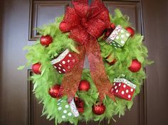 Decorating. Beauteous Christmas Wreath Front Door Inspiration Decoration. Fascinating Unique Front Door Lime Green Christmas Feather Wreath Featuring Green Quill Wreath And Red Ball Christmas Ornament And Beautiful Glittering Christmas Baubles Together With Red Bows