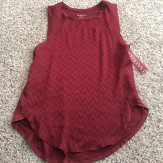 Maroon tank top Maroon tank top with chevron detailing on the front Merona Tops Tank Tops
