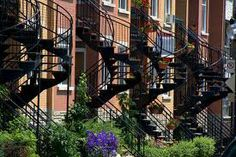 montreal stairs - Recherche Google Montreal Quebec, Quebec City, Backyard Privacy, City Photo, Staircases, Stairs, Canada, Outdoor Structures, Photos