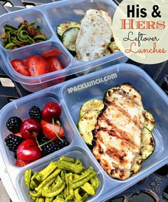 His & hers leftover heathy lunches from the grill