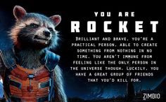 I took Zimbio's 'Guardians of the Galaxy' quiz and I'm Rocket! Who are you? #ZimbioQuiz
