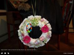 Diaper wreath for a girl