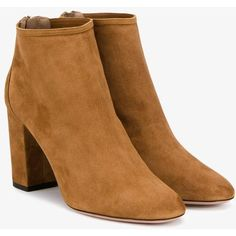 Aquazzura Brown Downtown Ankle Boots (10,720 MXN) ❤ liked on Polyvore featuring shoes, boots, ankle booties, high heel ankle boots, brown high heel boots, brown suede boots, brown suede booties and brown ankle boots