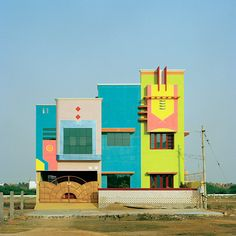 Indian Houses inspired by Ettore Sottsass.  Tirunamavalai, Tamil Nadu  Photography by Vincent Leroux
