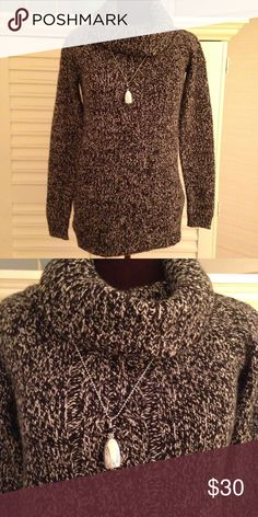 Ann Taylor Sweater EUC. MATERIALS: 33% rayon, 28% nylon, 21% merino wool, 16% cotton,  4% angora rabbit hair, and 8% cashmere. MEASUREMENTS: length from back of neck is 27 inches. Warm and snuggly! Ann Taylor Sweaters Cowl & Turtlenecks