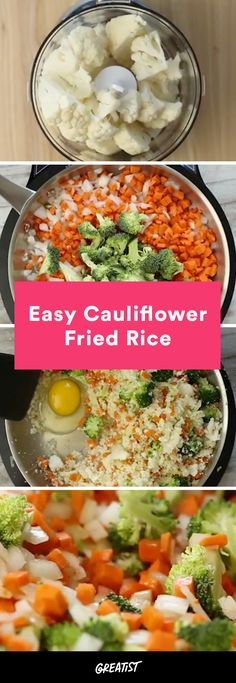 Who needs takeout? http://greatist.com/eat/cauliflower-rice-fried-rice-recipe-video