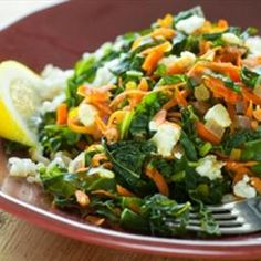 Greens with Carrots, Feta Cheese and Brown Rice on BigOven: